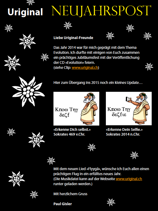 Newsletter Neujahrspost 2014 2015